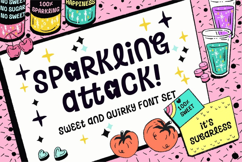 Sparkling Attack Font, Cartoon and Game Font, Display Typeface, Quirky Hand  Lettering Font, Trendy Typeface Design, Game & Poster Design