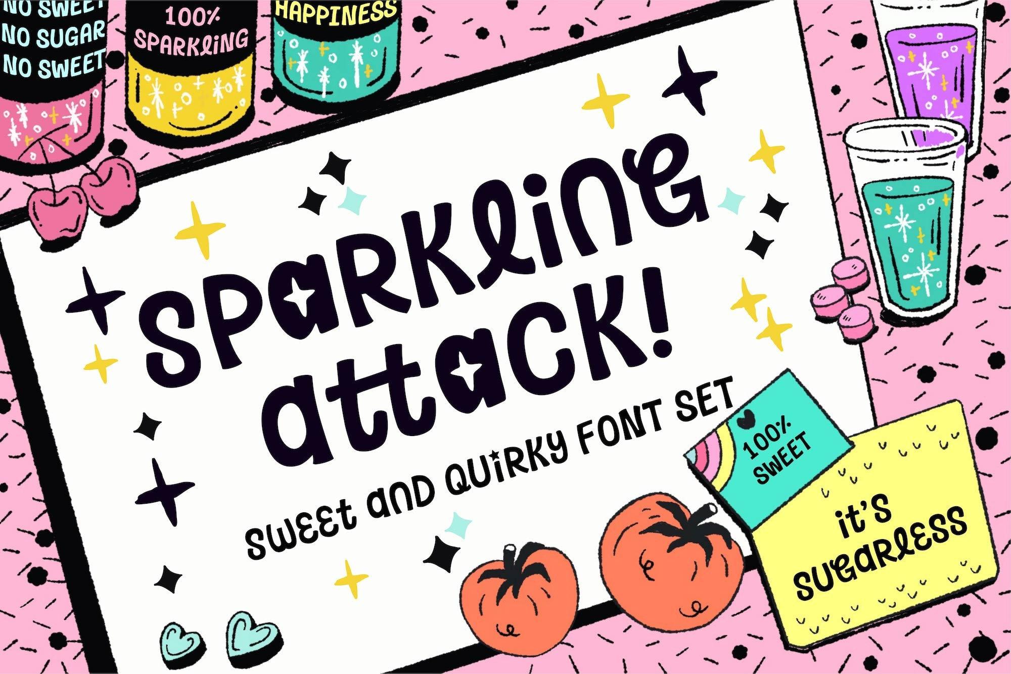 La police attaque pétillante, dessin animé et jeu, affichez Typeface, la décalé à la Typeface, main lettrage police, tendance Typeface Design, jeu et conception de l'affiche a40cce