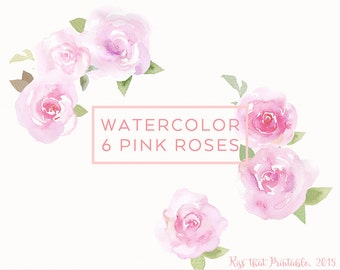 Digital Download Rose Clip Art, Watercolor Clip Art, Hand painted Watercolor Clip Art, PNG Pink Rose, Valentine Day Flower Graphics