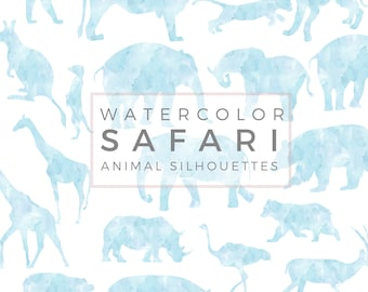 Safari Animal Silhouette | PASTEL Baby Blue, Clip Art, Animal Silhouette, Watercolor Clip Art, Commercial Use PNG, Digital download Graphic