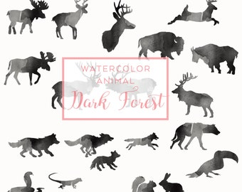 Black FOREST Animal Silhouette, Digital Download Watercolor Clip Art, Holiday Deer Clip Art, Animal Silhouette, Watercolor graphics