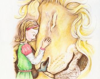 Aslan and Lucy Narnia Print