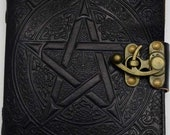 Leather grimoire Pentacle...