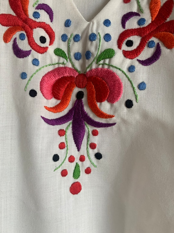 Hungarian hand embroidered vintage 70 hippie shirt - image 3