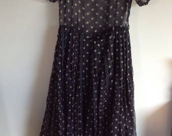 Prom dress 1940 1950 couture silk chiffon