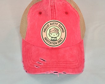 Hello Kitty Gang patch on pink trucker hat 09a356b88d2c