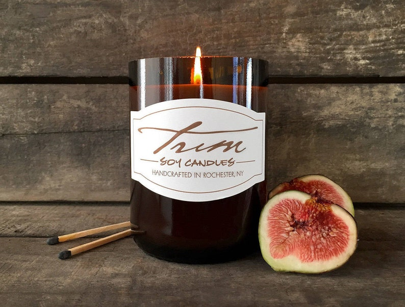 Fig and Rhubarb Scented Candle Hand Poured Handmade Soy image 0