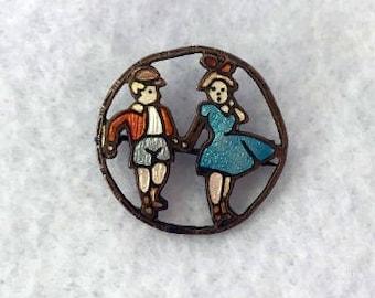 Vintage Enamel Boy and Girl Pin