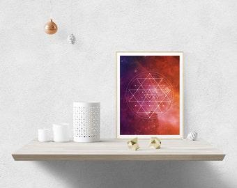 Sri Yantra Watercolor Galaxy – Instant Download – 8x10 inches