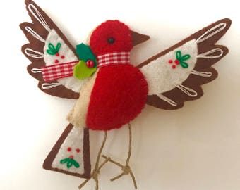 Flying Robin Red Breast Christmas Tree Decoration/Ornament - Handmade, Felt, Embroidered