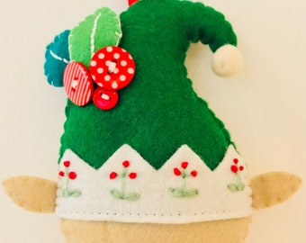 Elf Christmas Tree Decoration/Ornament - Handmade, Felt, Embroidered