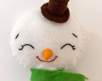 Handmade Snowman with Scarf Felt Christmas Tree Decoration/Ornament