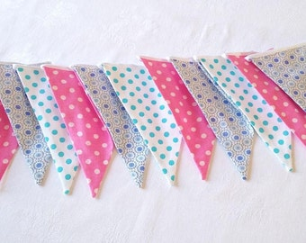 Bunting 12 flags Fabric banner Nursery bunting Fabric garland Fabric Pennant Flags Baby shower