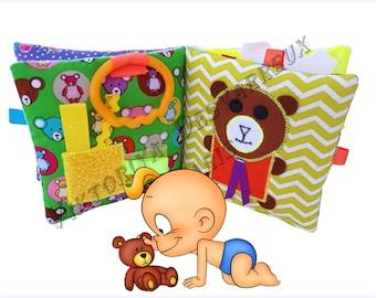 Personalized Baby Quiet Book, Montessori Baby, Busy book, Sensory toy, Fabric Baby book, Personalized 1st Birthday, Christmas Gift Baby