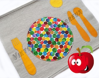 Personalized Kids Placemats, Place Setting Montessori Practical Life, Children's Placemats, Back to School, Lunch Place Mats, Foodie Gift