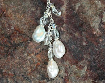 Natural Pearls and Aquamarine Necklace