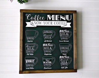Coffee Sign - Know Your Coffee - Coffee Menu - Vintage Coffee Sign - Coffee Bar - Coffee Bar Sign - Coffee Decor - Kitchen Sign
