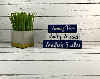 Sandy Toes Salty Kisses Starfish Wishes - Shelf Sitter - Beach Decor - Beach House Decor - Nautical Decor - Beach Wedding - Wedding Decor
