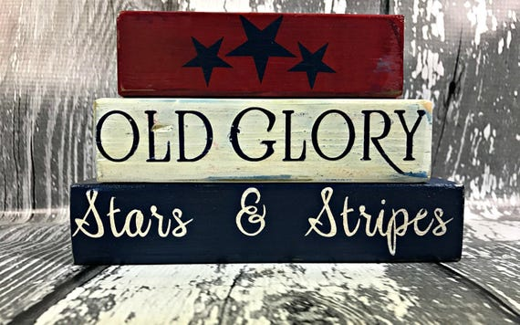 US Army Flag Freedom Primitive Rustic Handmade Stacking Blocks Wooden Sign Set