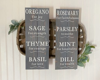 Herb Signs - Set of 2 Herb Signs - Herboriste Sign - Herb Meanings - Farmhouse Kitchen Sign - Farmhouse Decor - Cottage Kitchen Decor