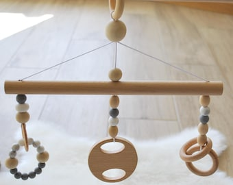 Play Gym Toys/Hanging Toys Set/Silicone Teething Toy/ Baby Teethers/Teething Toys/Safe and Natural/Hanging Gym Toys/Wooden Toys