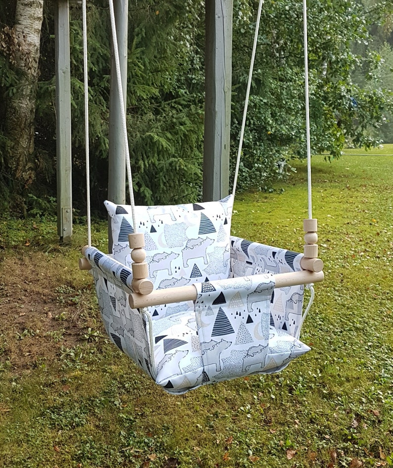 Outdoor Baby Swing >> Weatherproof Baby Swing Outdoor Indoor Swing Toddler Swing Birthday Gift Polar Bear Swing Waterproof Swing Tree Swing Baptism Gift
