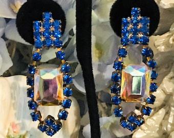 885f69ac9 Blue Statement Earrings, Vintage Wedding Earrings, Bridal Jewelry, Crystal  Earrings, Aurora Borealis Earrings, Blue Clip On Earrings