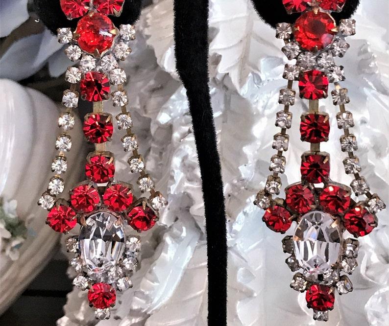 Vintage Clip On Earrings Red Christmas Earring Boho Chic Red Crystal Dangle Earrings Red Rhinestone Earring Ruby Red Statement Earrings