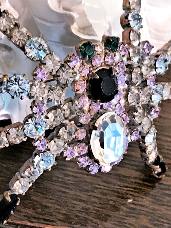 Vintage Spider Brooch, Statement Spider Pin, Crys… - image 7
