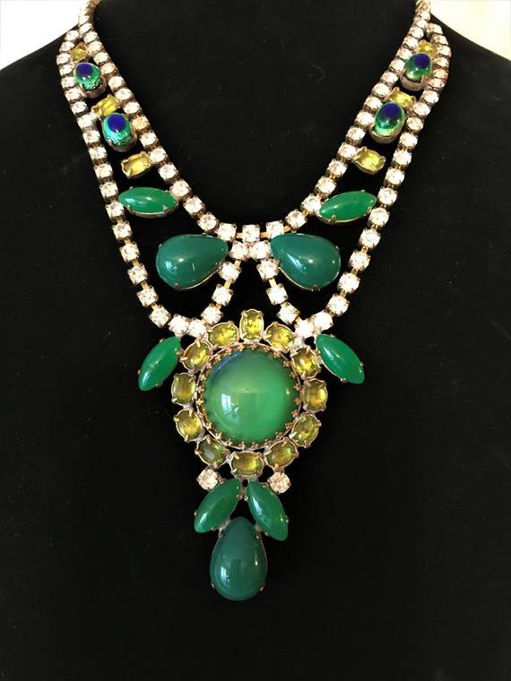 Vintage Rhinestone Statement Necklace,  Green Rhin