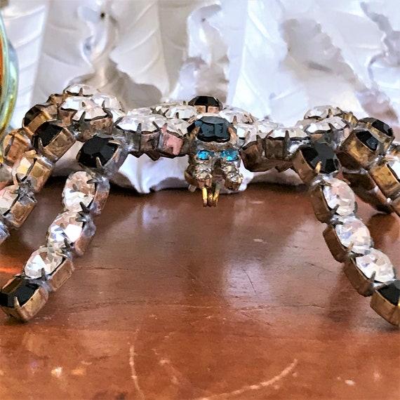 Vintage Spider Brooch, Statement Spider Pin, Crys… - image 2