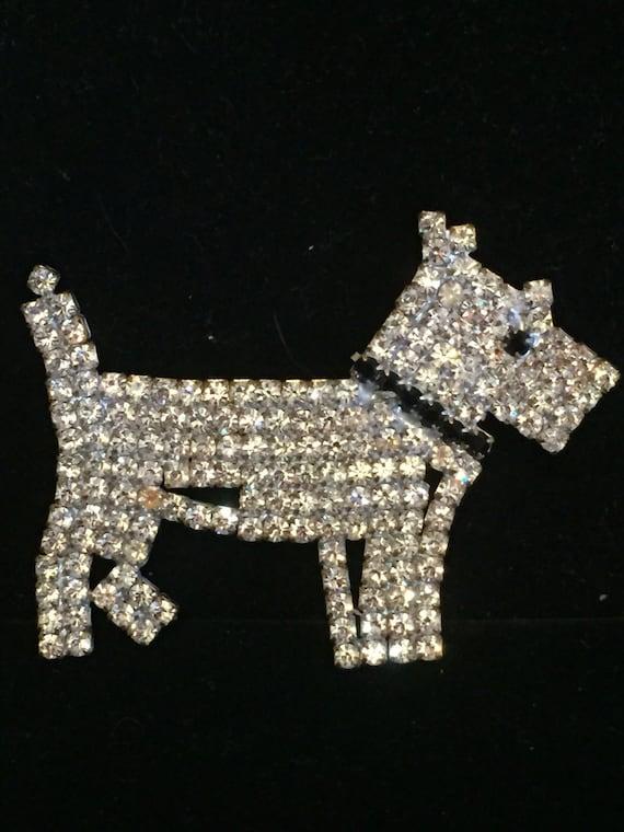 Vintage Rhinestone Scotty Dog Pin, Rhinestone Stat