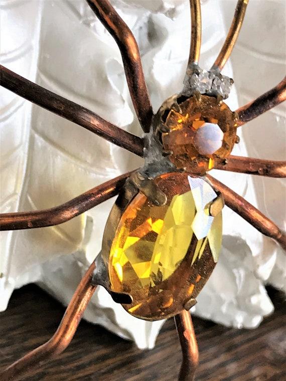 Vintage Spider Brooch, Gold Rhinestone Spider Pin,