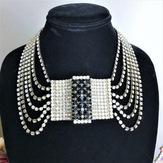 Vintage Rhinestone Necklace, Vintage Bib Necklace,