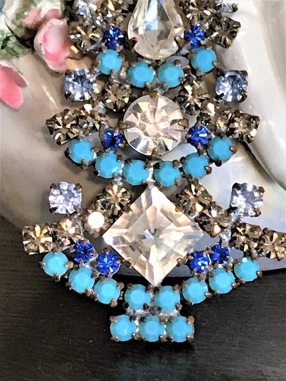 Christmas Jewelry Estate Jewelry Czech Rhinestone Christmas Tree Brooch Vintage Blue Christmas Tree Pin Holiday Jewelry