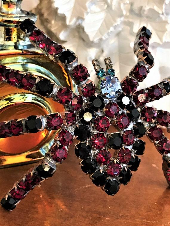Vintage Ruby Red Spider Brooch, Statement Spider P