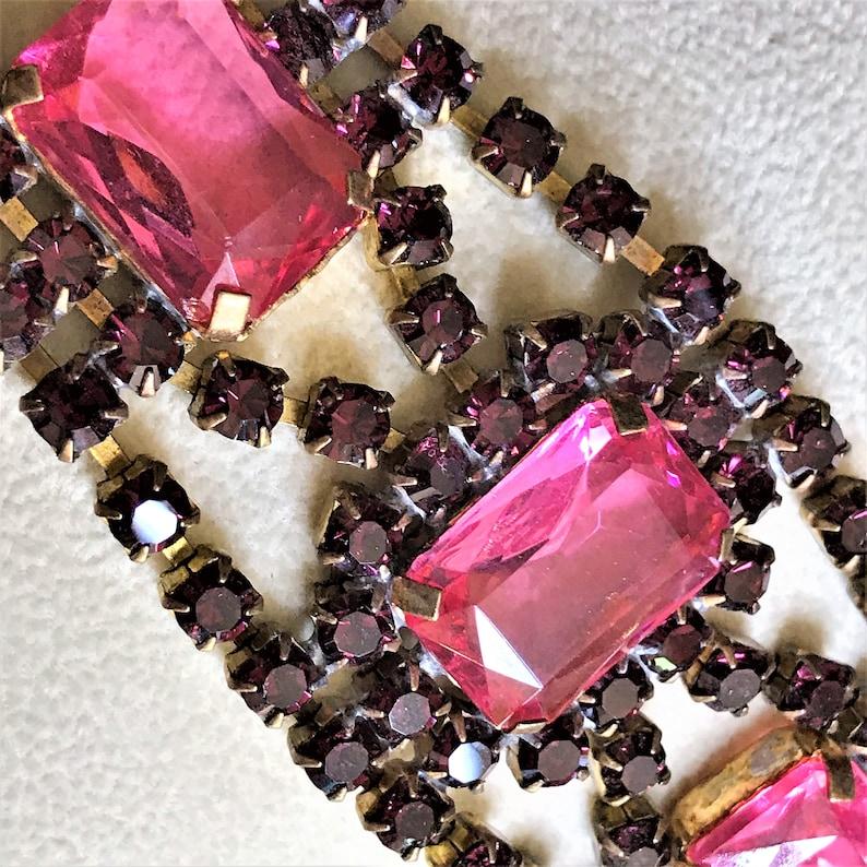 Purple Statement Bracelet Estate Jewelry Pink Rhinestone Bracelet Vintage Purple Bracelet Vintage Rhinestone Bracelet