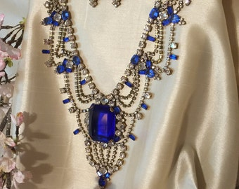 Husar Rhinestone Statement Necklace, Jaw Dropping Blue Czech Rhinestone Bib Necklace, Blue Rhinestone Necklace, Gift for Her, Estate Jewelry