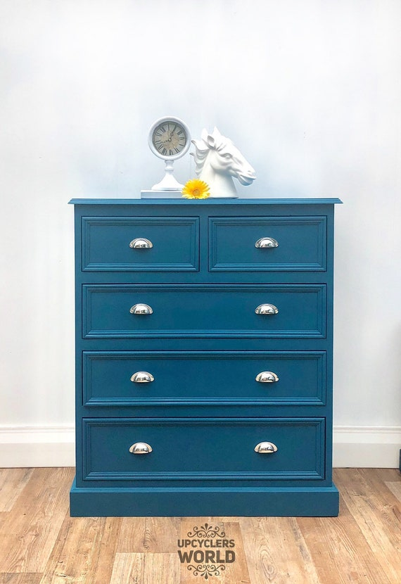 SOLD SOLD Teal & Silver Bedside Tables Cabinets Chest of Drawers Bedroom  Storage