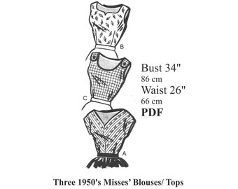 """1950s Three Rockabilly / Pinup Blouses / Tops Sewing pattern Bust 34"""" PDF Instant Download"""