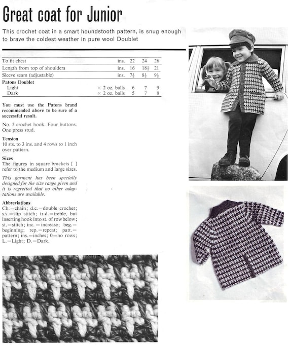 Child\'s Coat Crochet Pattern. Houndstooth Pattern. Vintage | Etsy