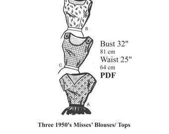 """1950s Three Rockabilly / Pinup Blouses / Tops Sewing pattern Bust 32"""" PDF Instant Download"""