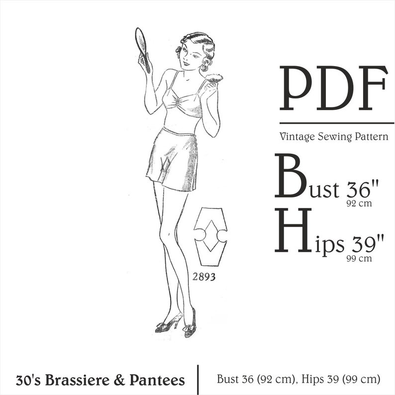 1920s Patterns – Vintage, Reproduction Sewing Patterns 20s Brassiere & Pantees Sewing pattern Bust 36 Knickers Sewing Panties Pattern Vintage Bra Lingerie PDF Lingerie Pattern Instant Download $4.03 AT vintagedancer.com