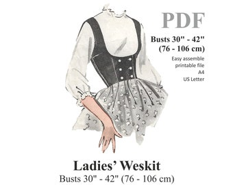 """Ladies Waistcoat / Vest Sewing Pattern. Steampunk, Victorian, Edwardian Style. Busts 30"""" - 42"""" (86 - 106 cm) PDF Instant Download"""