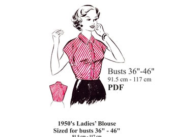 """50s Rockabilly Blouse Sewing pattern Busts 36"""" - 46"""" PDF Instant Download"""