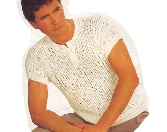 "Mens T Shirt Knitting Pattern. Chest 36""-44"". Vintage. PDF Pattern. Instant Download"
