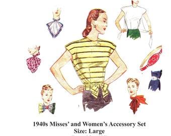 1940s Women's Blouse & Accessories Digital Sewing Pattern/ Instant Download PDF / Tie on Blouse / Belt, Scarfs, Handkerchief Size Large B40