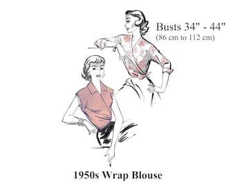 1950s Wrap Blouse Top Sewing Pattern Busts 34 - 44 PDF Instant Download