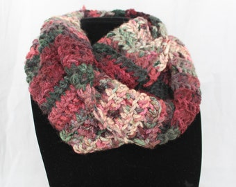 Red and Green Multicolor Handmade Crocheted Infinity Scarf