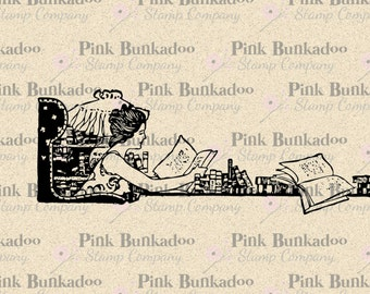 Printable Instant Download, Woman Reading In Her Library Clip Art, Antique Digital Clip Art, No. 5869